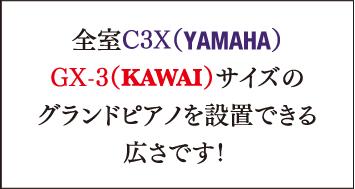 全室C3X(YAMAHA)GX-3(KAWAI)サイズのグランドピアノが設置できる広さです!